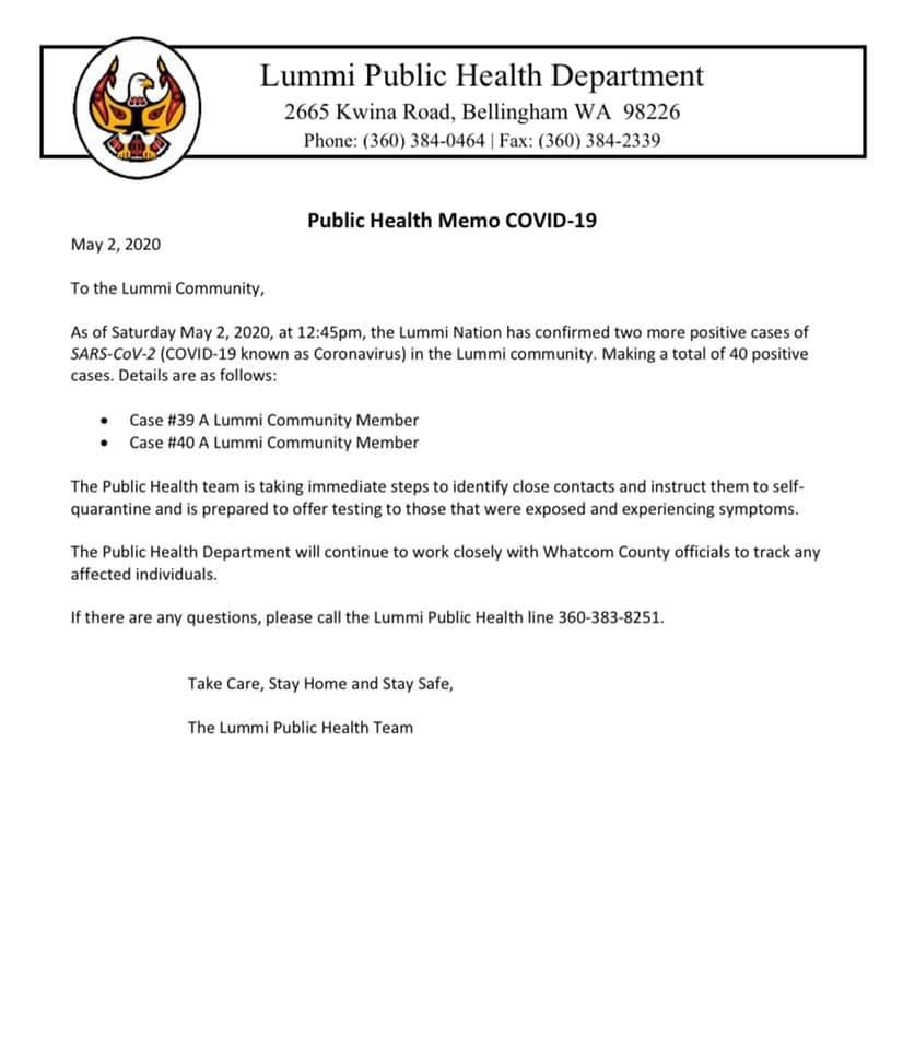 May 2, 2020 Covid-19 update. Lummi Public Health Department